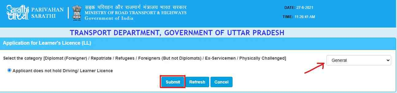 Learner's Licence select the category