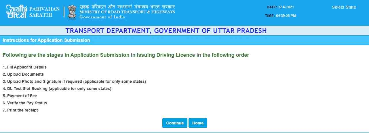 Stages in Application submission for Driving Licence